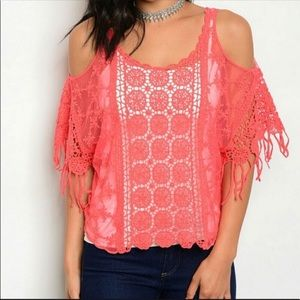 NWOT Coral Cold Shoulder Crocheted Top